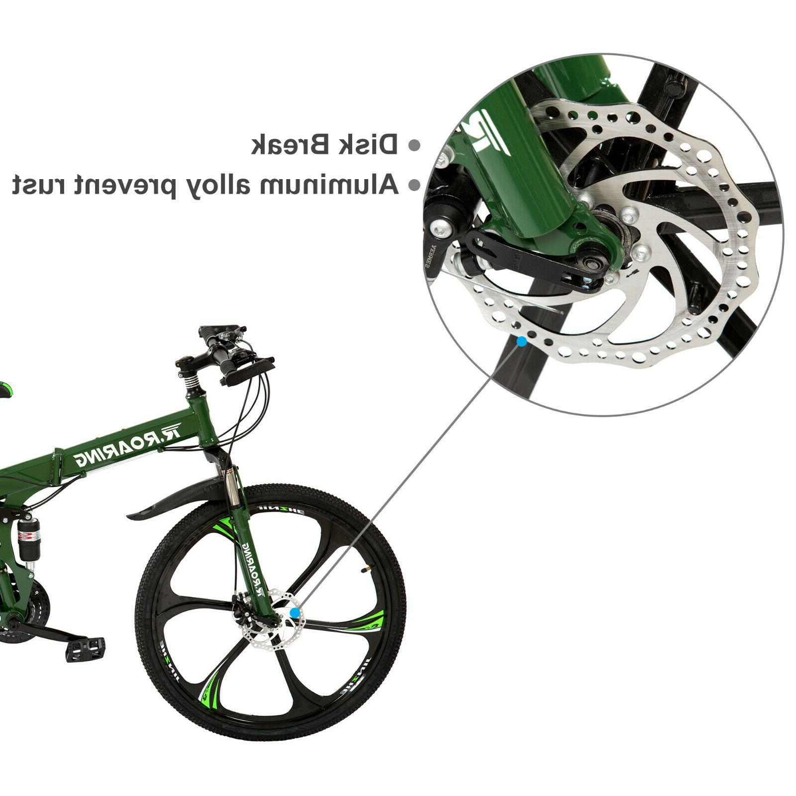 Folding Mountain Speed Bicycle 26inch Suspension Green